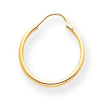 14k Yellow Gold Hollow Polished Hoop Earrings Measures 15x15mm Jewelry Gifts for Women - .3 Grams