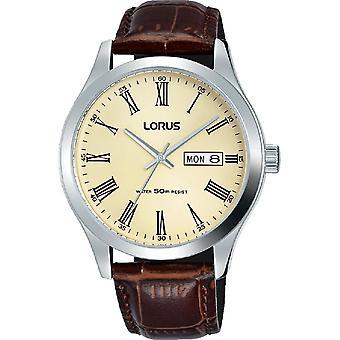 Lorus Mens Brown Leder Armband Uhr Creme Zifferblatt mit römischen Zahlen (RXN53DX9)