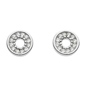 Aretes de círculo abierto de zirconia cúbica de rocío de plata esterlina 3397CZ020