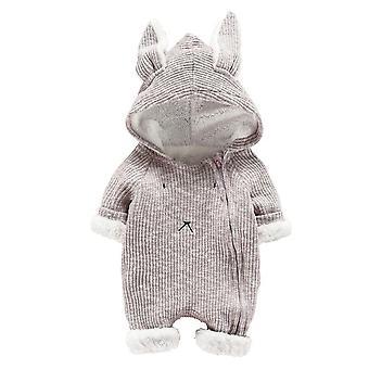 3d Rabbit Ear Design, Hooded Warm Romper For Newborn