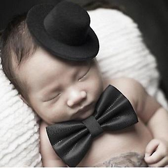 New Arrival Baby Photography Props Hat Tie Gentleman Set Infant Boys Souvenir Pictures Accessories Bow (black)