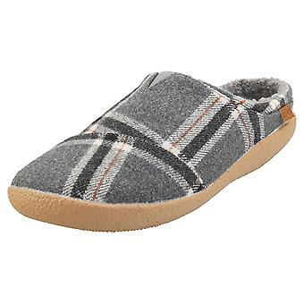 Toms Berkeley Shade Earthy Plaid Mens Slippers Shoes in Dark Grey