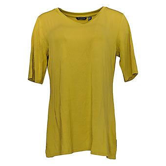 H por Halston Women's Top V-Neck Tunic Wide Side Slits Yellow A3533391