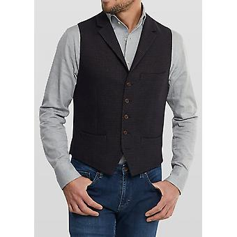 Eloy Navy & Brown Houndstooth Pattern Waistcoat
