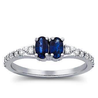 טבעת אירוסין 1/2ct כחול ספיר ויהלומים שתי אבן לנצח טבעת אירוסין לבן זהב