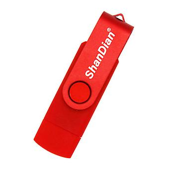 ShanDian High Speed Flash Drive 64GB - USB and USB-C Stick Memory Card - Red