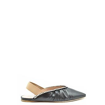 Miu Miu Ezbc057035 Zapatillas de Cuero Negro Para Mujer's