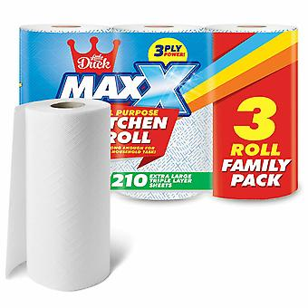 Maxx 3 Ply Jumbo Kitchen Rolls For Extra Strength & Absorbent-12 Rolls