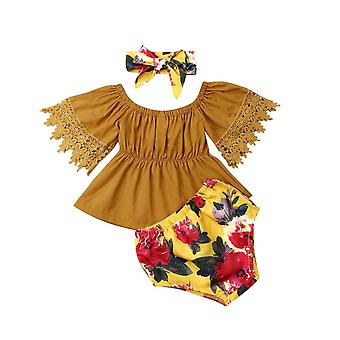 Newborn Baby Toddler Infant Outfits Clothes Off Shoulder Solid Tops Floral