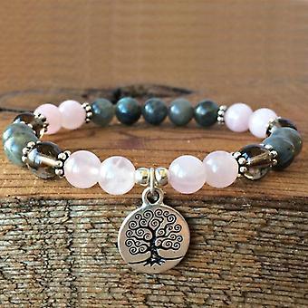 Natural Stone Beads Beaded Bracelet, Rose Labradorite, Wrist Tree Of Life Women