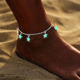 Bohemia Luminous Heart Pendant Anklets, Pretty Bracelet On The Leg Lover Anklet