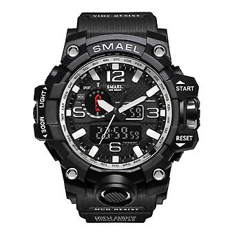 SMAEL Military Dive Watch for Men - Rubber Strap Quartz Movement Analog Digital for Men Silver