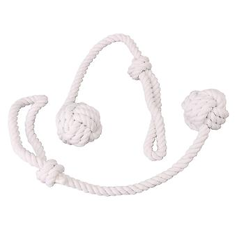 2 Pieces White Cotton Yarn Curtain Straps with Singe Ball Knot for Home