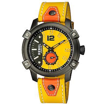 Rebel Men's Weeksville Yellow Gold/Bronze Dial Leather Watch