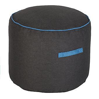 Loft 25 Bean Bag Round Footstool   Living Room Beanbag Furniture   Lightweight Soft & Comfy   Premium Ottoman Pouffe Foot Stool (Blue)