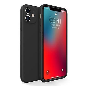 MaxGear iPhone 12 Pro Square Silicone Case - Soft Matte Case Liquid Cover Black