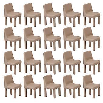 20 kusov Khaki Plastové Miniatúrne Y6 Model Stolička 1:75 Mierka 9.6x9.8x15mm