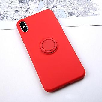 Anti-knock Soft Liquid Silicone Case For Iphone - Stand Ring Holder Cover
