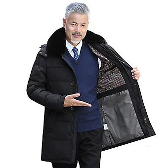 New Winter Jacket Men's Coats Male Outerwear Faux Fur Collar Casual Long Down