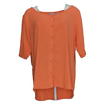 Anyone Women's Top Plus Cozy 3/4 Sleeve Button Scoop Neck Orange A377739