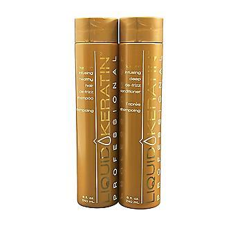 Liquid Keratin De Frizz Shampoo & De Frizz Conditioner Set 8 OZ Each