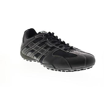 Geox Uomo Snake  Mens Black Leather Euro Sneakers Shoes