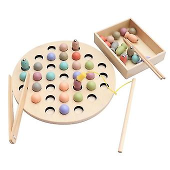Wooden Magnetic Fishing Learning Educational Montessori (a)