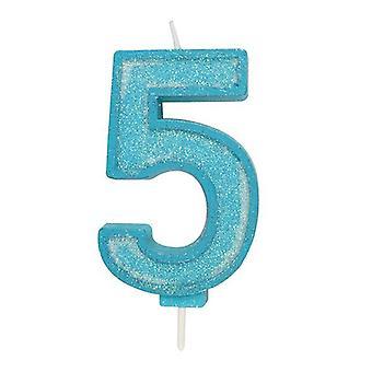 Sininen kimalteleva numerokynttilä - numero 5 - 70mm