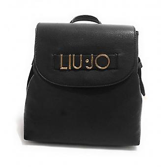 Liu-jo Backpack M With Skate 3 Compartments Black Faux Leather Woman B21lj49