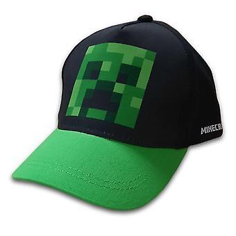 Minecraft Capac, negru / verde cu motiv de creeper pe partea din față, 54cm