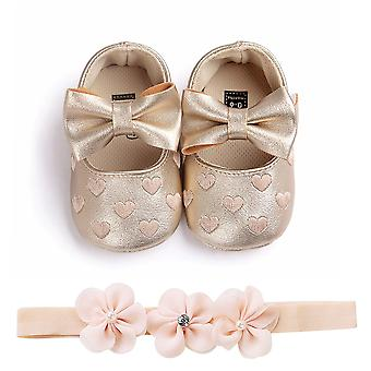 Newborn Infant Baby Bow Shoes, Princess Pu Leather, Birthday Party Shoe, Soft