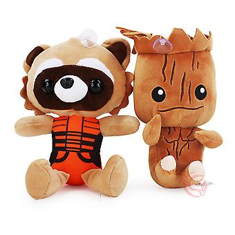 2pcs Guardians Of The Galaxy Baby Groot Tree Raccoon Figure Plush Toy