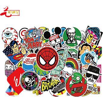 50pcs Diy Skate Waterproof Pvc Mixed Cartoon Sticker