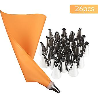 Silicone Pastry Bags Tips, Icing Piping Nozzles + Cream Reusable Pastry Bags