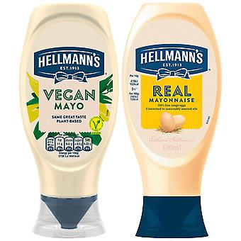 Hellmann's Vegan Mayonnaise & Real Mayonnaise, 1 de chaque bouteille squeezy, 430ml