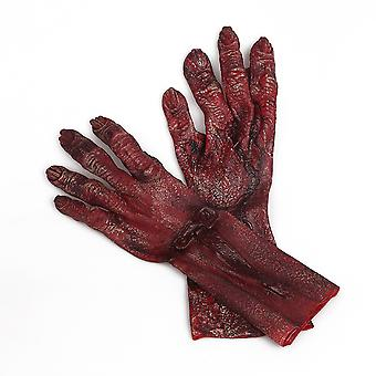 Zombie Blood Cosplay Gloves Vinyl Halloween Funny Costume Red