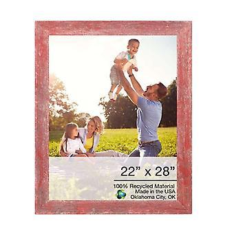 "22"" x 28"" Rustic Farmhouse Red Wood Frame"