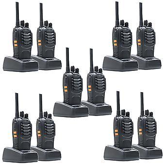 Set van 10 draagbare radiostations PNI PMR R40 PRO batterijen, opladers en hoofdtelefoons inbegrepen