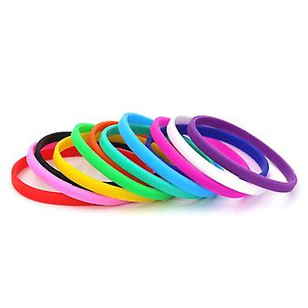 5 Piece Fitness Mixed Color Rubber Silicone Wristband/women