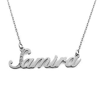 Kigu Samira - Halsband med namn, anpassningsbart, i silver tonalit, med delikat namn, juvel för kvinna, flickvän, mamma, Ref. 4993933194334