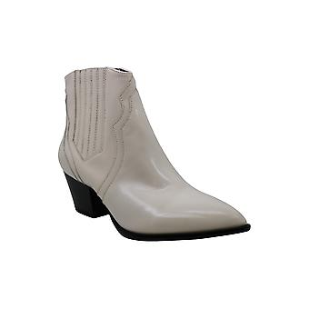 INC Womens Andriaa Leather Pointed Toe Ankle Boots Ivory 8.5 Medium (B,M)