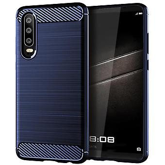 Tpu carbon fibre case for huawei p30 blue mfkj-497