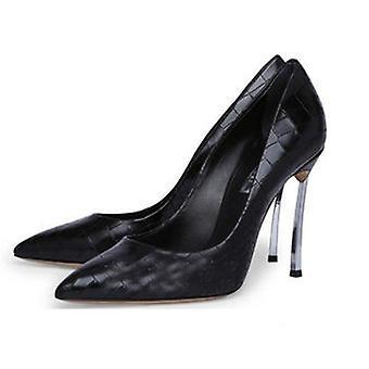 Frauen Leder Spitz Zehen dünne High Heels Schuhe - 8cm Stein Muster