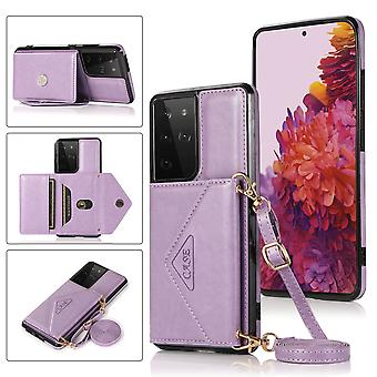 Leather wallet case for samsung s21 ultra purple pns-709
