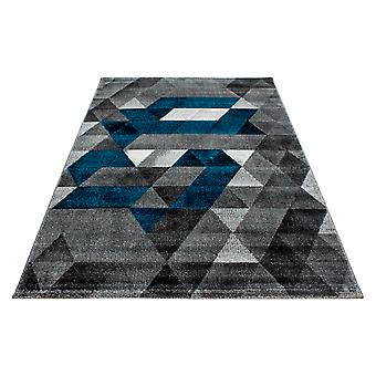 Shortflor diseñador alfombra triángulo patrón sala de estar rug turquesa gris fundido