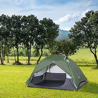 Outsunny Two-Man Dome Camping Tent w/ Rainfly 4 Windows 2 Doors Double Layer Shelter Home Outdoor Garden Hiking Festivals Portable Storage Bag
