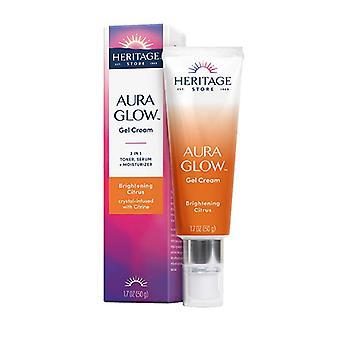 Heritage Store Aura Glow Gel Cream Brightening Citrus, 1.7 Oz