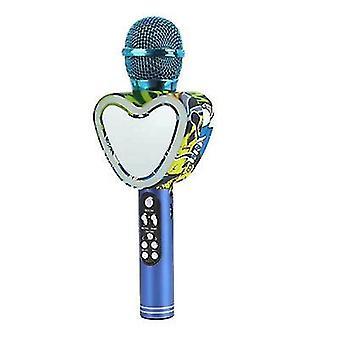 Microphone karaoké Bluetooth sans fil en forme de cœur bleu, 4 en 1 avec lumières LED pour ktv az12500