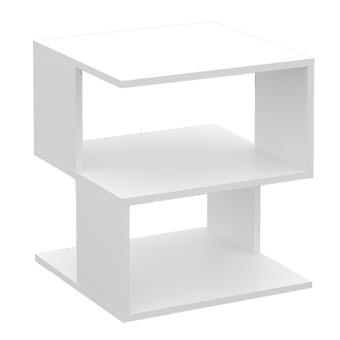 Simple Small Coffee Table Modern Side Table Living Room Square Desk Bedroom Nightstand Home Adornment For Home Bedroom Room (blanc)