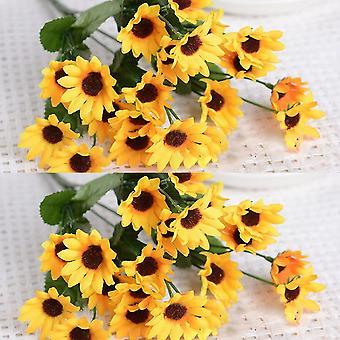 Künstliche Sonnenblume 2 Bouquet künstliche Blumen gefälschte Sonnenblumen Floral Dekor Bouquet Handwerk